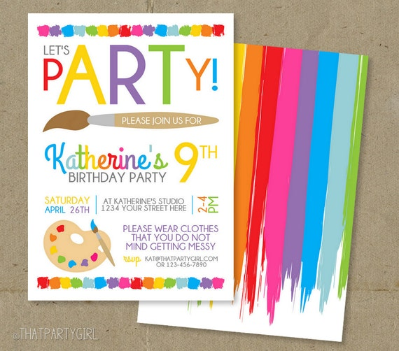 Art Party Invitation Birthday