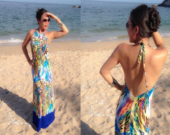Color block Blue Animal printed  Halter backless long maxi dresss all size