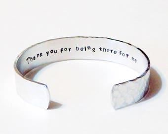 Hidden Message Textured Cuff Bracelet Hand Stamped