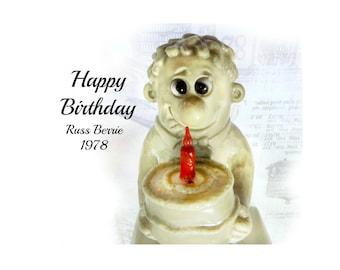Russ Berry figurine - Happy Birthday  - R & W Berries - vintage Russ Berrie -  # 3