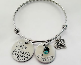 This Auntie Belongs to Hand Stamped Bracelet, Personalized Gift for Aunt, Mom, Grandma, Godmother, Sister, Customized for Her, Birthday Gift