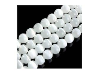 set of 10 glass beads white 8 mm cat's eye