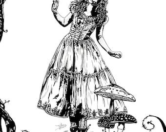 Digital Print of Alice in Wonderland (Pen drawing)