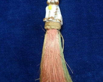 Vintage brush with ceramic scottie dog