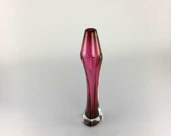 Hand Blown Glass Vase - Ruby Red Tapered Bud Vase by Jonathan Winfisky