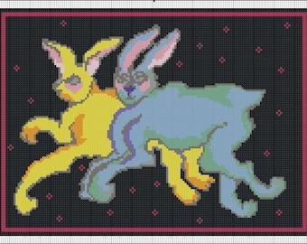 Digital Double Rabbits Needlepoint or Cross Stitch Pattern
