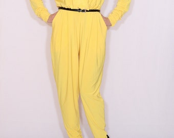 Yellow jumpsuit Long sleeve jumpsuit Batwing jumpsuit with pockets Bright yellow pant suit