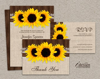 DIY Printable Sunflower Wedding Invitation Sets, Rustic Country Wedding Invitation Kits With Sunflowers, Burlap And Lace