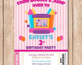 Bounce House Birthday Invitation   Ticket, Balloons, Jump House, Girl - 1.00 each printed