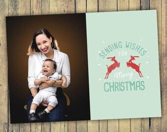 Photo Christmas Card - Digital File (Sending Wishes)