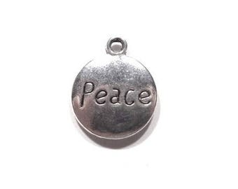 4 X charm PEACE medallion, peace, antique silver engraved PEACE front and back, 15mm diameter