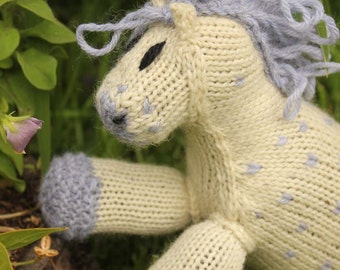 Nico: Knitted Pony Stuffed Animal Horse Natural Waldorf Inspired Eco Friendly Toy