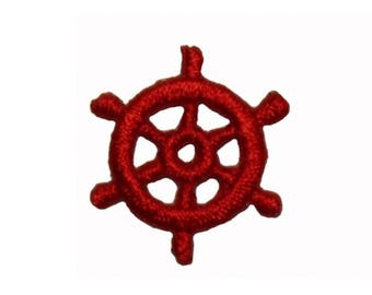 ID 1981A Lot of 3 Ship Wheel Patch Boat Steering Embroidered Iron On Applique