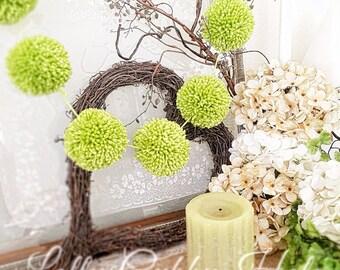 Pom Pom Garland, Key Lime Green, Yarn Pom Poms, Baby, Bridal Shower Garland,  Birthday, Wedding, Pom Pom Decoration