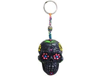 Day of the Dead Gray Sugar Skull Handmade Keychain