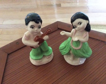 Vintage Ceramic Hawaiian Hula Couple, Exc.