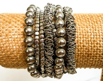 Vintage Silver Glam Stretch Bracelet       Fits Small To Medium