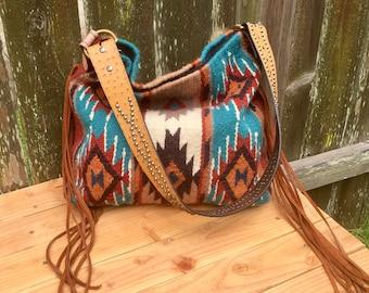 Saddleblanket bag with Ariat studded leather belt strap