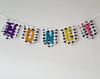 Personalised Fabric Name Bunting Banner, Bright Fabric Letters, Monochrome Bunting, Scandi Name Garland, Custom Name Sign, Personalised sign