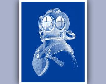 Diver Helmet Print, Vintage image scuba diving helmet print, dive blue print, Marine Nautical art, diving center decor, dive school, 11x14