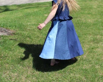 Peasant Blouse and Skirt (One Piece Outfit) Dress; Summer Dress, Kids Summer Clothes, Girls School Outfit, Modest Clothes, Paneled Skirt