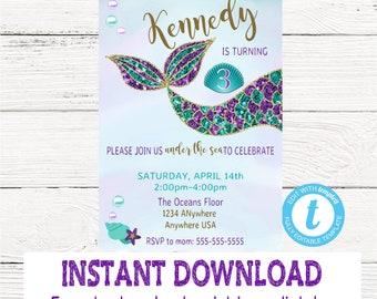 Mermaid Invitation, Mermaid Birthday Invite, Mermaid Party, Under the Sea, First Birthday, Mermaid Theme, Sparkle, Glitter, Aqua Teal Purple