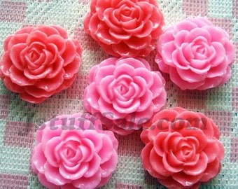Pink rose cabochons 6 pieces 30mm (A239)