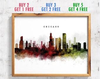Chicago Skyline Watercolor