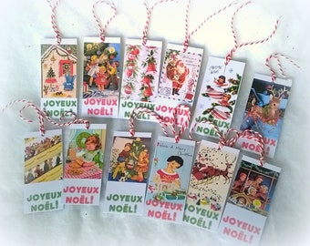 12 Christmas tags vintage assorted series number 2 advent calendar