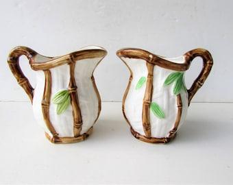 Vintage Ceramic Pitchers - 2 Pitchers Bamboo Design - Mid Century Modern Pottery - Ceramic Bamboo Pitchers - Bamboo Handled Pitcher -