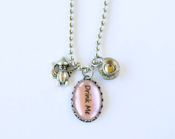 Drink Me Necklace / Tea Necklace / Alice In Wonderland / Silver Toned Necklace / Gift For Her / Tea Charms / Tea Party / Teapot / Teacup
