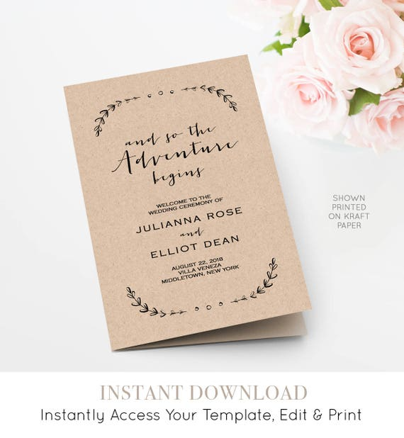 Wedding Program Template, Printable Order of Service, Folded, So the Adventure Begins, INSTANT DOWNLOAD, 100% Editable, Templett  #031-113WP