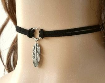 Black Choker Necklace, Black Necklace, Feather Choker, Leaf Necklace, Leather Necklace, Black Choker, Leaf Choker, Black Suede Choker