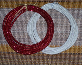 glitter rope ribbon,15 feet,bendable,red or white,crafts,florals,bows,wreaths,decoration,embellishment,Christmas, craft