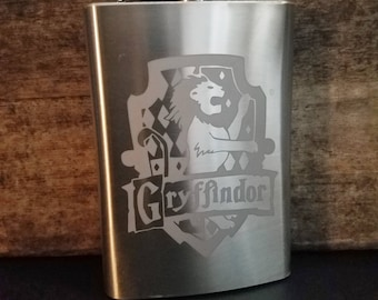 Gryffindor House Banner Harry Potter Inspired Hogwarts School of Witchcraft and Wizardry Etched Flask Harry Potter Stainless Steel 8oz Flask