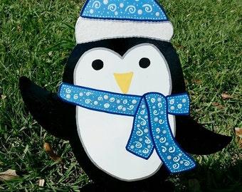 Penguin yard decoration, Festive Garden Art, Winter Penguin, Chilly Willy, Christmas Penguin Art, Outdoor Holiday Decor, Christmas Yard Art