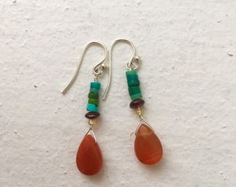 Sale! Turquoise and carnelian Crystal Earrings