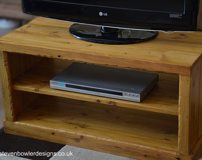 "Bespoke Rustic Country Cottage Reclaimed Wood TV Unit Light Oak Stain with Decorative Edging Handcrafted to Order 36"" W 15"" D and 18"" H"