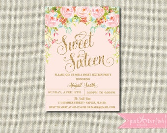 Sweet sixteen invitation sweet sixteen party invitation sweet sixteen invitation sweet 16 invitation sweet sixteen party pink and gold birthday solutioingenieria Images