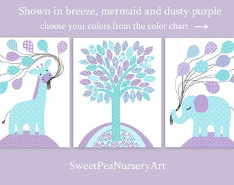 Aqua and Purple Nursery Decor, Nursery Wall Art, Zoo Nursery Decor, Giraffe Print, Elephant Wall Decor, Baby Girl Wall Hanging, Zoo Canvas