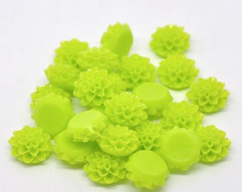 4pcs / 50pcs Lime Green Cabochon Flowers - Wholesale Resin Cabochons -  Dahlia Mum Neon 80s Jewelry Supplies - DIY Plastic Cab 15mm 16mm