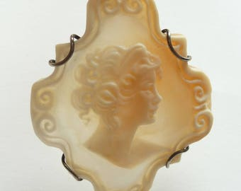 Vintage Shell Cameo Brooch Pin Sterling Silver Pendant Made in Naples Italy Carved Shell Cameo 925 Silver