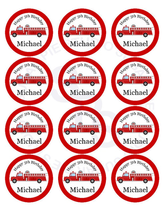 Fire engine truck Mix and Match 2 inch circle Cupcake toppers