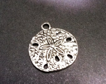 Wholesale charms etsy sand dollar charms pendants antiqued silver ocean charms nautical charms 50 pieces wholesale charms aloadofball Images