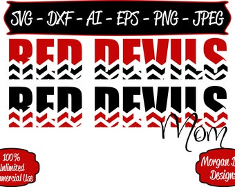 Red Devils Mom SVG - Basketball SVG - Baseball SVG - Football svg - Soccer svg - Files for Silhouette Studio/Cricut Design Space