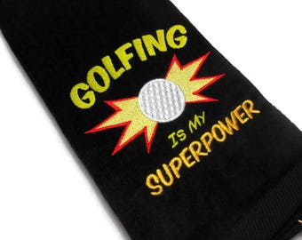 Funny golf towel, golf gift for him, Golfing is my, Superpower, father's day, embroidered towel, golf birthday, sports towel, large quality