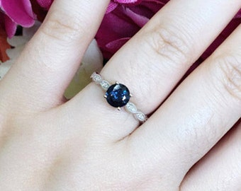 Blue Sapphire Engagement Ring/Diamond Wedding Ring/14k White Gold Diamond Ring/Dainty Engagement Ring/Sapphire Ring/Natural Sapphire&Diamond