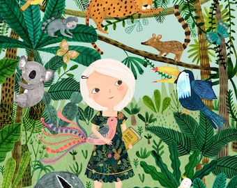 Jungle Girl...Giclee print of an original illustration