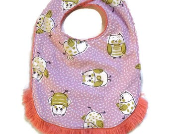 Bib with fringes, animal patterned cotton and sponge - from 6 months