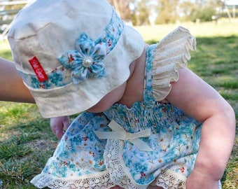 Reversible Hat with removable Hairclip -  Butterflies and Blooms Summer Collection